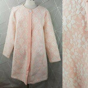 Isaac Mizrahi Live! Floral Lace Print Coat Plus 3X